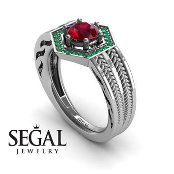 Unique Engagement Ring 14K White Gold Vintage Art Deco Edwardian Ring Filigree Ring Ruby With Green Emerald - Peyton