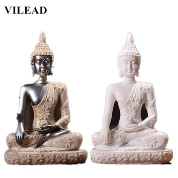 VILEAD Nature Sandstone Buddha Sculpture Thailand Buddha Statue Hindu Fengshui Figurine Meditation Miniatures Office Home Decor