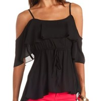 Fluttery Flounce Cold Shoulder Top by Charlotte Russe - Black