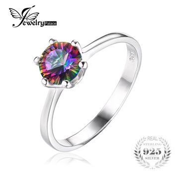 JewelryPalace 1ct Mystic Fire Rainbow Topaz Engagement Wedding Ring Solid 925 Sterling Concave Round Unique 2016 Brand New Gift