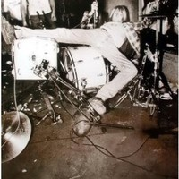 Nirvana Kurt Cobain Toppled on Drums 23.5 X 34 POSTER Black & White early Seattle grunge Bleach era (sent FROM USA in PVC pipe)