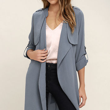 Windswept Away Slate Blue Trench Coat