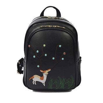 Student Backpack Children Vintage PU Leather Backpack Cute Animal Bagpack Embroidery School Bags Backpack for Teenager Girls Student Retro Travel Backpack AT_49_3