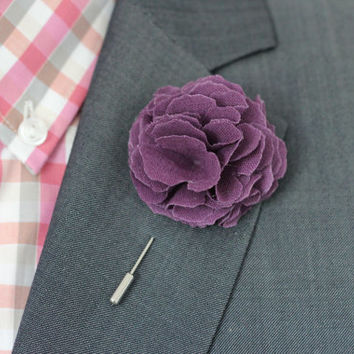 Violet, Purple linen Carnation flover, cotton, Linen Flower pin, mens boutonniere, mens lapel pin,