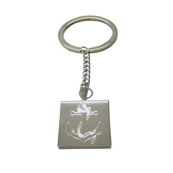 Silver Toned Etched Nautical Roped Anchor Keychain
