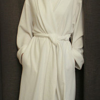 Long Shawl Collar Robe Cotton/Poly Basket Weave Made In USA | Simple Pleasures, Inc.