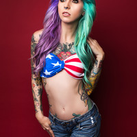 American Flag Bow Bralette- LAST ONE