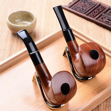 Manual Individuality Pipes Activated Carbon Double Filter Core Solid Wood Smoking Pipe Herb Tobacco Pipe Cigar Narguile Grinder