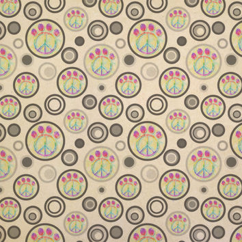 Paw Print Peace Sign Kraft Gift Wrapping Paper