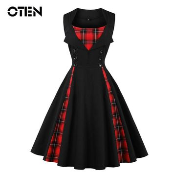 ce4f77dac71 OTEN Women size big tartan dress Summer Tunics Vintage Sleeveless Red Plaid  Print Button Rockabilly party