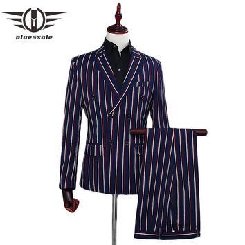 Men Double Breasted Suit Slim Fit Stripe Suits For Men Navy Blue White Men's Wedding Groom Suits Prom Wear