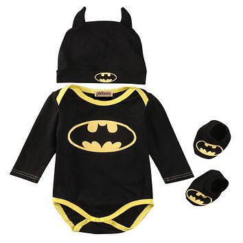 Pudcoco Hot sell Newborn Baby Boy Clothes Batman Cotton Romper+Shoes+Hat 3Pcs Outfits Set Bebes Clothing Set
