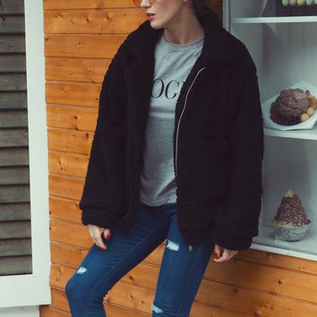 Black Lapel Long Sleeve Faux Fur Coat Shearling Jacket