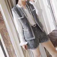 """Chanel"" Women Temperament Fashion Multicolor Weave Pearl Sleeveless Cardigan Vest Jacket Shorts Set Two-Piece"