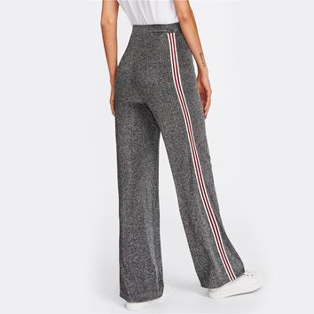 Mid Waist Striped Tape Side Glitter Pants