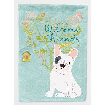 Welcome Friends Piebald French Bulldog Flag Canvas House Size BB7634CHF