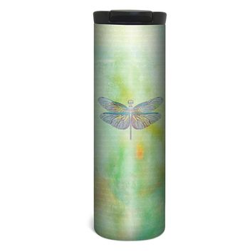 Vibrant Dragonfly Barista Tumbler Travel Mug - 17 Ounce, Spill Resistant, Stainless Steel & Vacuum Insulated