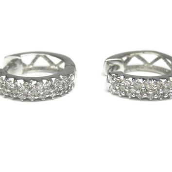Vintage 14K White Gold .30 Carat Diamond Huggie Hoop Earrings