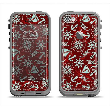 The Red Nautica Collage Apple iPhone 5c LifeProof Fre Case Skin Set