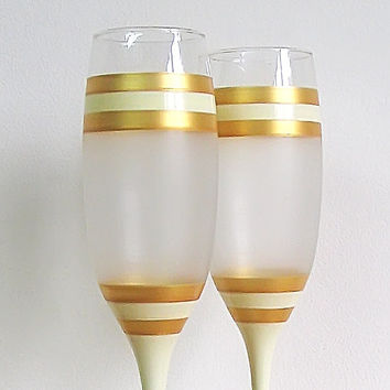 Wedding glasses- beige, gold, frost. Hand painted. Personalized. Champagne glasses. Champagne Flutes. Set of 2.