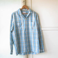 "Sky Blue Plaid Men's Large/16-16 1/2"" Shirt; '70s Vintage Rockabilly/Working Man's Cotton-Blend Casual Long Sleeve"