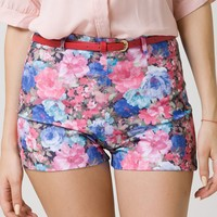 High Waist Floral Print Shorts with Belt