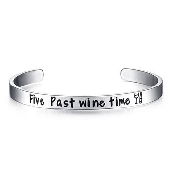 """Five Past Wine Time"" Adjustable Bracelet & Bangles"