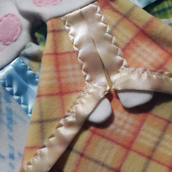 READY TO SHIP Yellow and orange plaid Fisher Price replica FooFoo Bunny with ivory satin trim