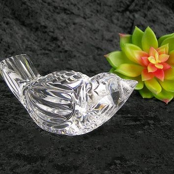 Waterford Crystal Bird Paperweight, Solid Crystal, Name Acid Etched on Bottom, Vintage Collectible, Elegant Home Decor, Gift for Him Her