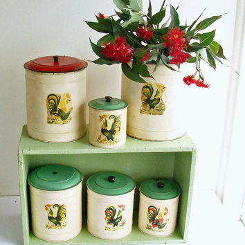 Canister Set, Rooster Motif, Rustic Kitchen Storage, Set of 6, Distressed Metal, Shabby Chic, Green and Red, Country Farmhouse,