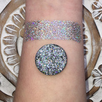 Stardust pressed glitter eyeshadow, Holographic silver, magnetic 26mm pan or jar