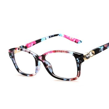 Fashion Rhinestone Floral Eyeglasses Frames Clear Lens Fake Optical Glasses Leopard Eyewear Spectacle Frames For Women