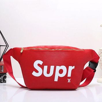 LV x Supreme Women's High-Quality Fashionable Leather Wallet Waist Shoulder Bag F red