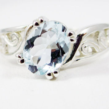 14k White Gold Oval Aquamarine Filigree Ring