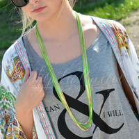 RAY OF SUNLIGHT NECKLACE IN NEON GREEN