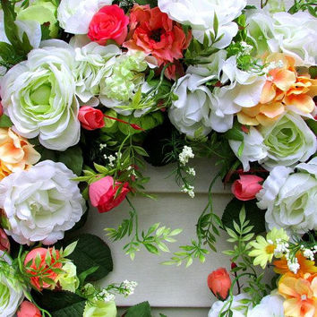 Spring Door Wreath For Front Door, Housewarming Wreath, Spring Garden Wreath, Floral Wreath Door, Spring Wreath, Spring Door Wreath