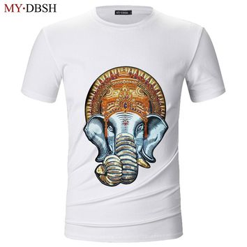 Men's Fashion Summer Large Elephant Head T shirt Unisex Ganesh Religion Floral Hipster Top Tee Casual Elastic Cotton T-Shirts