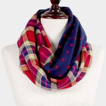 All Mixed Up - Plaid and Polka Dots Infinity Scarf