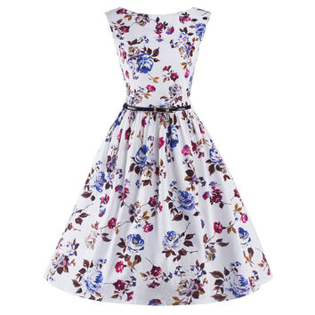 Audrey Hepburn Summer Dress Sleeveless Tunic Casual Vintage 1950s 60s Party Rockabilly Big Swing Long Floral Dresses Plus Size