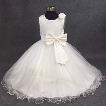 White and Pink A Line Sleeveless Knee Length Tulle Sequined Lace Flower Girl Dresses For Weddings Pageant Dresses With Bow MDF93