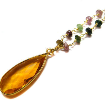 24kt. Gold Plated Watermelon Tourmaline Gemstone Faceted Beaded chain Necklace Citrine Quartz Bezel Pendant 18 inches long gemstone beads