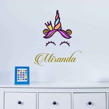 Unicorn wall decal Custom Name Vinyl Wall Decal Large Wall Decal Smiling Unicorn Decal Happy unicorn decal Unicorn lashes cik2282