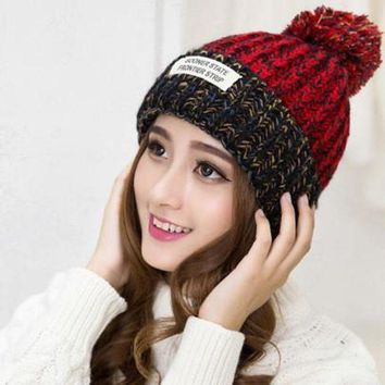 IKCKU62 2017 Women Bonnet Femme Winter Pom Pom Beanies Hats Knitted Crochet Hat Warm Woolen Woman Fur Pompons Skullies Bone Gorro