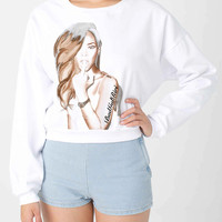 Rihanna Bad Gal Riri Digital Print American Apparel Women's Cropped Sweatshirt