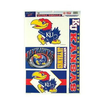 "Licensed Kansas Jayhawks NCAA 11"" x 17"" Car Window Cling Decal KU Wincraft 029171 KO_19_1"