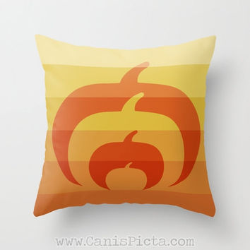 Modern Ombre Halloween Pumpkin Silhouette 16x16 Throw Pillow Cover Cushion Decorative Orange Harvest Couch Art Home Unique Contemporary Fun