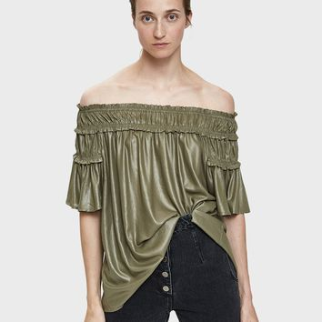 Farrow / Caqui Smocked Off-Shoulder Top