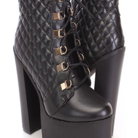 Black Quilted Chunky Heel Booties Faux Leather
