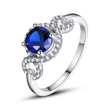 Sterling Silver 1.5 Carats Round Sapphire Ring