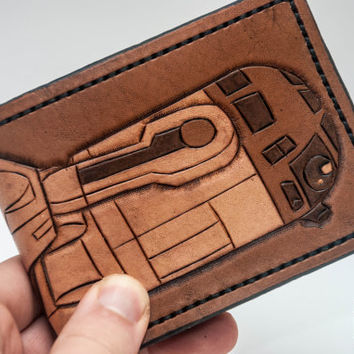 Star Wars HandMade Leather Wallet  R2D2 Made to by PopovLeather